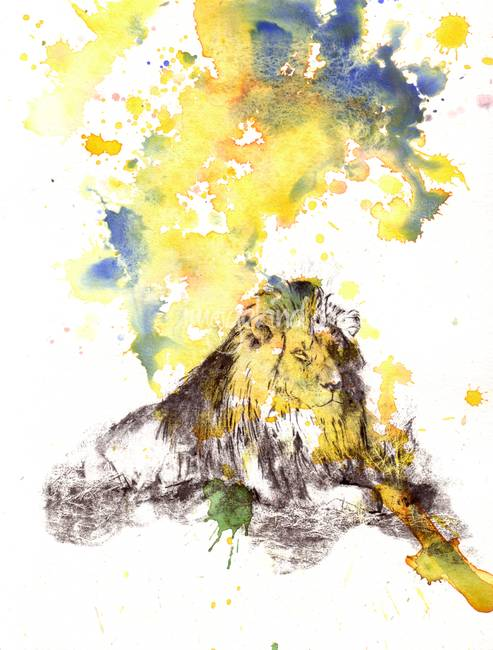 LION Watercolor Timelapse
