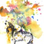 """Howling Wolf In Splatter"" by idillard"