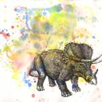 """triceratops in splatter"" by idillard"