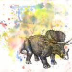 """triceratops in splatter"" by idillard"