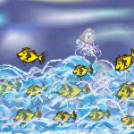 """The little mermaid and the golden fishes"" by Gabriela-Romaria"