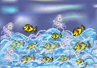 The little mermaid and the golden fishes