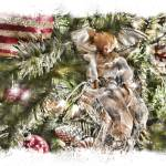 """Christmas Holiday Angel, Red Gold Ball, Blessings"" by Chantal"