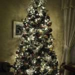 """Golden Christmas Holiday Art Display w Tree Lights"" by Chantal"