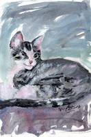 My Kitten Baby Buster Mixed Media Painting by Gine