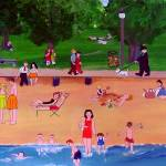"""""""At The Beach 1950s"""" by AudCooperArtist"""