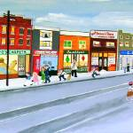 """Sunday On The Danforth 1940s"" by AudCooperArtist"