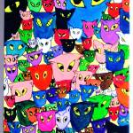 """""""Cats & Three Mice"""" by AudCooperArtist"""