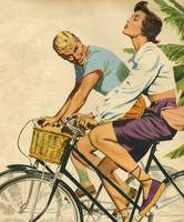 Illustration from magazine 1952 - Couple on a bike