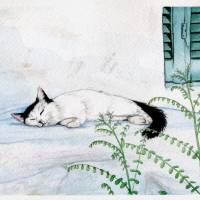 Catnap In Athens Art Prints & Posters by Larissa Sayer