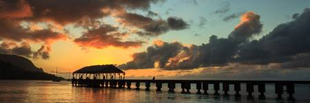 Hanalei Pier Sunset Panorama