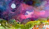 Abstract Harvest Moon Landscape by Ginette