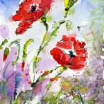"""Poppy Flowers and Bees Watercolor by Ginette"" by GinetteCallaway"