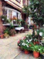 Belvidere NJ - Outdoor Cafe With Flowerpots