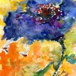 """Blue Poppy and Bees Watercolor Painting"" by GinetteCallaway"