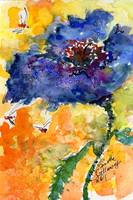 Macro Blue Poppy and Bees Watercolor Painting