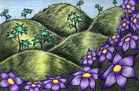 Green Hills & Purple flowers