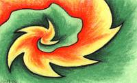 Orange & Green Swirl