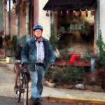 """Man Crossing Street With Bicycle"" by susansartgallery"