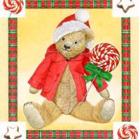 Xmas red  teddy bear Art Prints & Posters by Patrizia Donaera