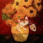 """Cat art by catmaSutra - Sunflowers"" by catmasutra"