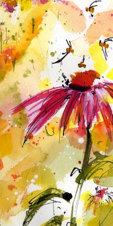 Flowers & Bees bring Joy Watercolor & Ink