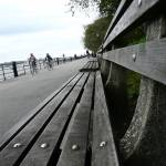 """Benches along Hudson River Park, NYC"" by karinm"