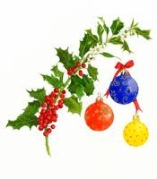 Holly  branch with xmas balls