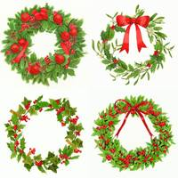 xmas garlands with red ribbons