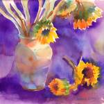 """Sunflowers on Purple"" by YevgeniaWatts"