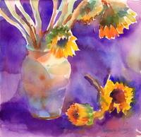 Sunflowers on Purple