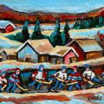 """POND HOCKEY GAME WINTER SCENE"" by carolespandau"