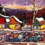"""""""POND HOCKEY WITH BIRCH TREE AND MOUNTAIN"""" by carolespandau"""
