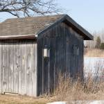 """Old Weathered Board and Batten Shed with Birdhouse"" by mackflix"