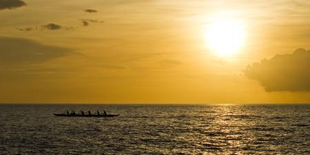 Hawaiian Outrigger Canoe Sunset