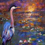 """Impressionist Blue Heron Sunset and Lily Pond Oil"" by GinetteCallaway"