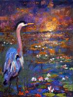 Impressionist Blue Heron Sunset and Lily Pond Oil