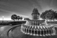 Charleston Pineapple Fountain Fine Art Back and Wh