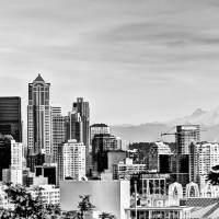 """Seattle Skyline - Space Needle and Mt Rainier"" by Eileen"