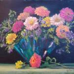 """Zinnias in Blue Vase"" by StudioSinaloa"