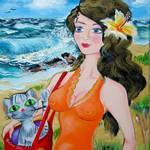 """Girl on the Beach with a Cat"" by galina"
