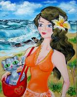 Girl on the Beach with a Cat