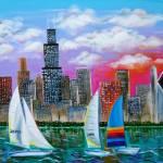 """Chicago Skyline on Lake Michigan"" by galina"