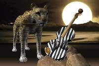A Leopard and Zebra Skin Violin - 3D Model