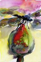 Dragonfly on Flower Bud Watercolor by Ginette