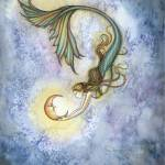 """Deep Sea Moon Mermaid Fantasy Watercolor by Molly"" by robmolily"