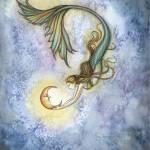 """""""Deep Sea Moon Mermaid Fantasy Watercolor by Molly"""" by robmolily"""