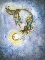 Deep Sea Moon Mermaid Fantasy Watercolor by Molly