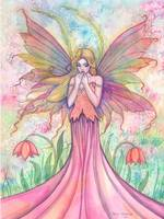 Wildflower Fairy Fantasy Watercolor Art by Molly H
