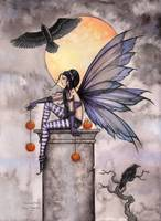 Autumn Raven Fairy Fantasy Art Print by Molly Harr